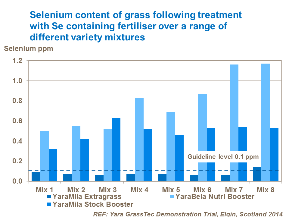 Selenium content of grass following treatment with Se containing fertiliser over a range of different variety mixtures Stock Booster