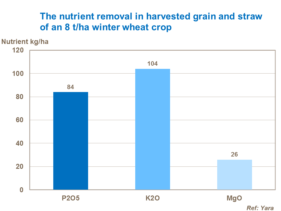 Nutrient removal by an 8 tonne wheat crop